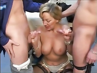 Blonde European French Handjob Mature Mom Old and Young Threesome French