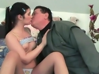 Brunette Daddy Daughter Kissing Old and Young Small Tits Teen Daddy