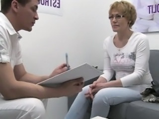 Amateur Blonde Casting European Glasses Mature Mom Old and Young Czech