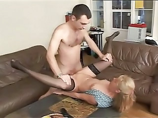 European German Mature Mom Old and Young Small Tits Stockings German
