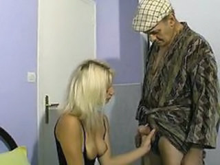 Blonde Daddy European French Handjob  Old and Young Small cock