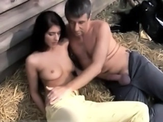 Daughter Amazing Brunette Cute Daddy Farm Old and Young Teen