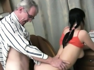 Brunette Daddy Old and Young Pigtail Student Teacher Teen