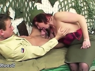 Army Blowjob European German Mature Mom Old and Young Redhead Uniform German