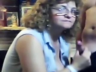 Mature Wife Amateur Glasses Handjob