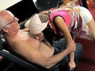 Daddy Daughter Licking Old and Young Teen Grandpa