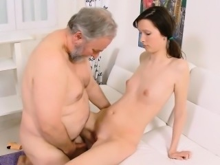 Brunette Daddy Daughter Old and Young Small Tits Small cock Teen