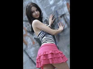 Amateur Amazing Brunette Cute Girlfriend Outdoor Skirt Teen