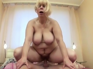 Blonde Chubby Mature Mom Old and Young Riding  Son Mother Caught