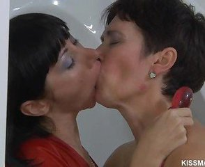 Brunette Kissing Lesbian Mature Russian Toy