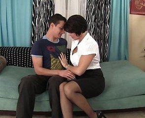 Brunette Mature  Mom Old and Young Skirt
