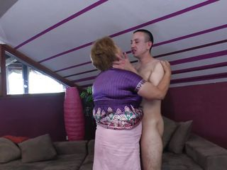 Chubby Kissing Mature Mom Old and Young Boobs