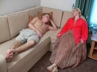 Blonde Family Mature Mom Old and Young Son