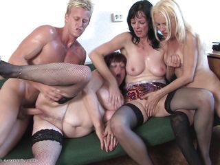 Groupsex Hardcore Mature Old and Young Shaved Stockings Boobs Drilled