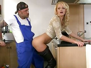 Amazing Babe Blonde Doggystyle Kitchen Pornstar Skinny Tattoo Uniform