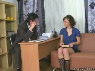 Brunette Old and Young Teacher Teen