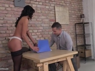 Amazing Babe Brunette Office Pornstar Secretary Stockings