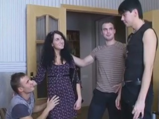 Brunette Cute European Gangbang Teen European
