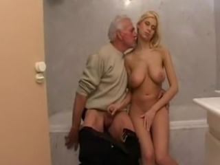 Amazing Bathroom Big Tits Daddy Daughter Family Natural Old and Young Teen Grandpa