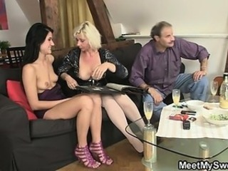 Family Mature Mom Old and Young Teen Threesome Dirty Mother