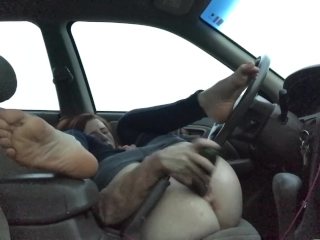 Car Masturbating Public Toy Wife Public