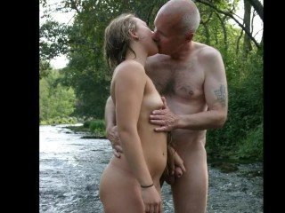 Amateur Daddy Daughter Kissing Old and Young Outdoor Teen Public