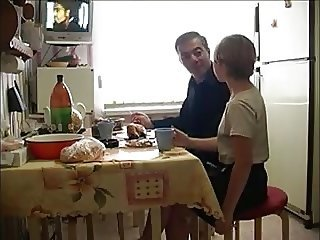 Daddy Daughter Family Kitchen Old and Young Teen