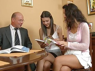 Daddy Daughter Family Old and Young Teacher Teen Threesome