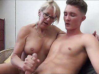 Family Glasses Handjob Mature Mom Old and Young Dress