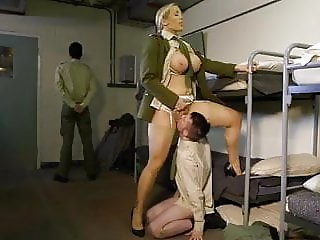 Army Big Tits Femdom Licking  Slave Uniform