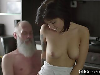 Amazing Brunette Daddy Daughter Family Old and Young Riding Teen