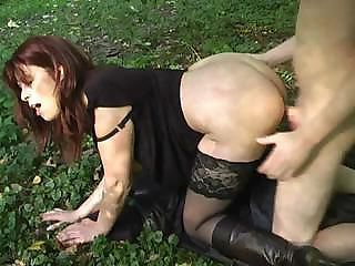 Amateur Brunette Doggystyle  Outdoor Stockings Wife