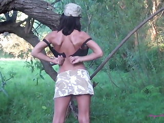 Army Babe Outdoor Stripper