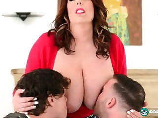 Big Tits Family Mature Mom Old and Young Threesome